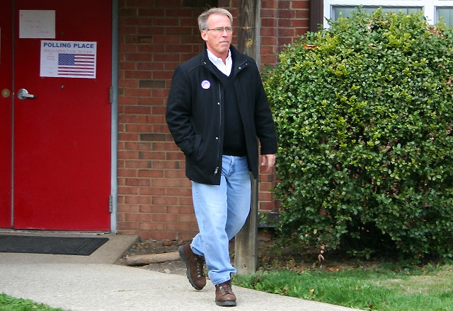 Mayor David Poling leaves the polls after casting his ballot / photo by John Paul