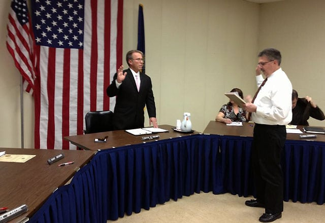 Mayor David Poling taking the oath of office / submitted photo