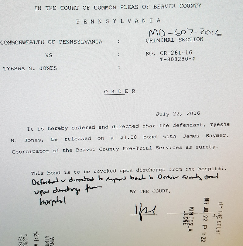 Order issued by Judge Kim Tesla granting $1 bond to Tyesha Jones